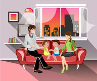 Parents and their children in living room. Smiling young parents and their children on sofa in the living room. Vector flat illustration stock illustration