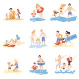 Parents and Their Children Playing and Having Fun on Beach, Happy Family Enjoying Summer Vacation on Seashore Vector. Illustration on White Background stock illustration