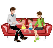 Parents and their children on sofa. Smiling young parents and their children on sofa in the living room vector illustration