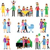 Parents and their kids in different situations set, happy family concept vector Illustrations Stock Photography