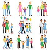 Parents and their kids set, happy family concept vector Illustrations Stock Photo
