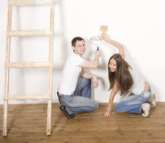 Parents with their son near ladder Royalty Free Stock Photography