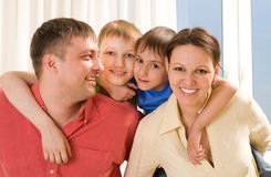 Parents with their two children stock photos