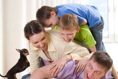 Parents with their two children Stock Photo