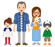 Parents and Three Children Royalty Free Stock Photography