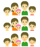 Parents and three kids expressions Royalty Free Stock Images
