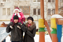 Parents with toddler  in winter Royalty Free Stock Image