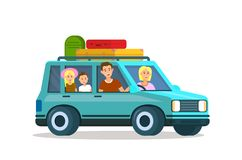 Parents Traveling with Kids Together. Family Trip stock illustration