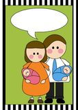 Parents with twin newborns. Illustration of parents holding twin boy and girl with a speech balloon on green background Stock Images