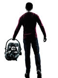 Parents walking rear view with baby silhouette Royalty Free Stock Photo