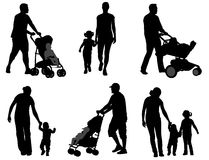 Parents walking with their children. Silhouettes - vector Stock Images