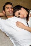Pares étnicos novos felizes no amor Imagem de Stock Royalty Free