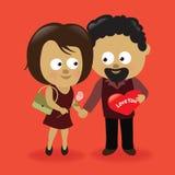 Pares 2 de las tarjetas del día de San Valentín Fotografía de archivo libre de regalías