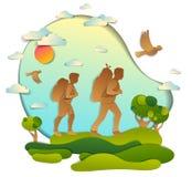 Pares activos que caminan en naturaleza con los prados y árboles, novio y novia Ejemplo del vector de escénico hermoso ilustración del vector
