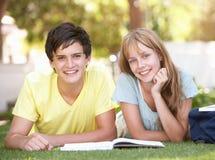 Pares adolescentes del estudiante que estudian en parque Foto de archivo