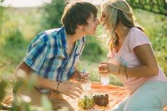 Pares adolescentes que se besan en comida campestre Imagen de archivo