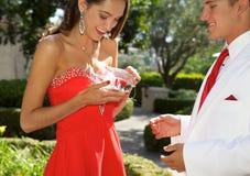 Pares adolescentes que van al baile de fin de curso La muchacha está abriendo un Boutonniere que ella tiene para su novio Fotos de archivo libres de regalías