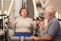 Pares adultos mayores aptos que se resuelven junto en el gimnasio Fotos de archivo libres de regalías