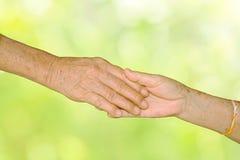 Pares adultos mayores felices que llevan a cabo las manos juntas Fotografía de archivo