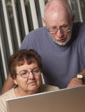 Pares adultos mayores sonrientes que se divierten en el ordenador Imagen de archivo