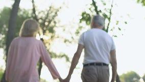 Pares adultos que guardam as mãos, andando no parque, junto com as dificuldades da vida filme