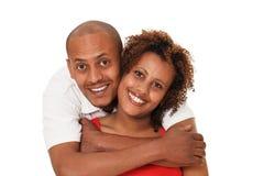 Pares afro-americanos isolados no branco foto de stock royalty free