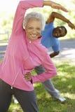 Pares afro-americanos superiores que exercitam no parque Fotografia de Stock