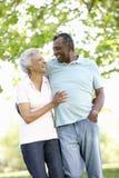 Pares afroamericanos mayores románticos que caminan en parque Imagen de archivo
