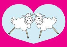 Pares agradáveis de carneiros Fotos de Stock Royalty Free