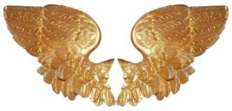 Pares aislados de alas aureate del ángel Foto de archivo