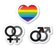 Pares alegres, ícones alegres do amor ajustados Imagens de Stock Royalty Free