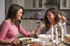 Pares alegres fêmeas que têm um jantar romântico em sua cozinha foto de stock
