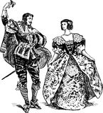 Pares antiguos de los bailarines Fotografía de archivo