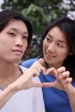 Pares asiáticos jovenes que forman una dimensión de una variable del corazón imagen de archivo