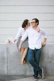 Pares asiáticos no dia de Valentim Imagem de Stock Royalty Free