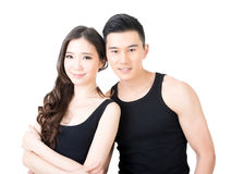 Pares asiáticos novos do esporte fotografia de stock royalty free