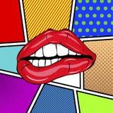 Pares atractivos dulces del arte pop de labios brillantes del vector Foto de archivo libre de regalías