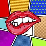 Pares atractivos dulces del arte pop de labios brillantes del vector Fotografía de archivo libre de regalías