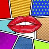 Pares atractivos dulces del arte pop de labios brillantes del vector Imagen de archivo