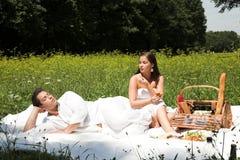 Pares atractivos jovenes que tienen un picknick Imagenes de archivo