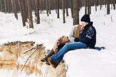 Pares atrativos na floresta do inverno que senta-se na cobertura no precipi Fotos de Stock Royalty Free