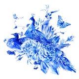 Pares azuis do vintage de pavões com rosas da aquarela Fotos de Stock Royalty Free