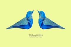 Pares azuis dos pássaros do origâmi Fotografia de Stock