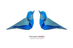 Pares azuis dos pássaros do origâmi Imagens de Stock