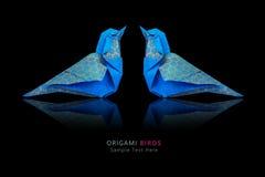 Pares azuis dos pássaros do origâmi Imagem de Stock Royalty Free