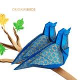 Pares azuis dos pássaros do origâmi Foto de Stock