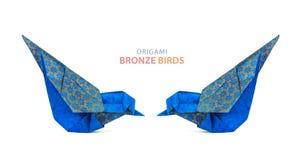 Pares azuis dos pássaros do origâmi Foto de Stock Royalty Free