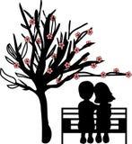 Pares bajo el cerezo stock de ilustración