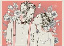 Pares bonitos com elementos florais ilustração do vetor