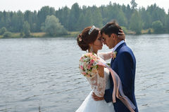 Pares bonitos do casamento que beijam e que abraçam perto do lago fotos de stock royalty free